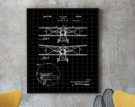 Airplane Blueprint Design 1925 by William Douglas Clark Airplane Large Poster Aviation Gift for Pilot Gift for Airplane Guy Flying Art WB312