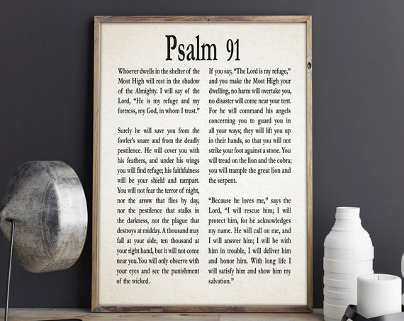 Psalm 91 Print Psalm Poster Psalm Wall Art Christian Gift for Friend Gift for Son Gift for Daughter Be Strong Gift Courage Get Well Gift