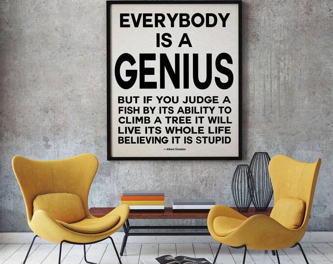 Albert Einstein Quote Everyone Is A Genius Quote Geek Poster Geek Print Einstein Quote Poster Genius Art Print Motivation Quote Large Poster