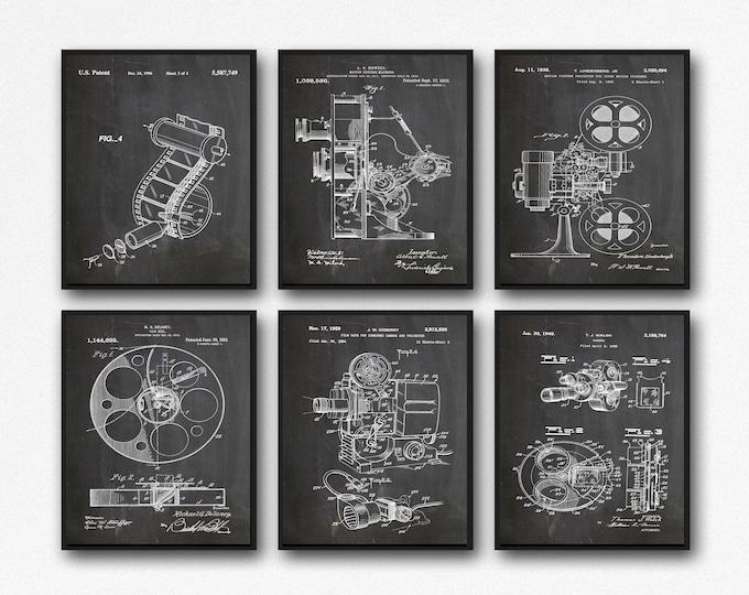 Home Theater Decor Cinema Decor Set of 6 Movie Patent Posters