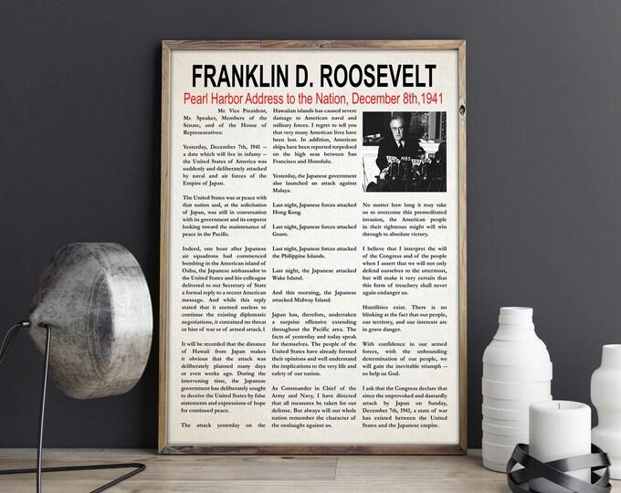 FDR Pearl Harbor Speech Franklin D Rooseveldt Speech Pearl Harbor Decor Famous Speech Wall Art