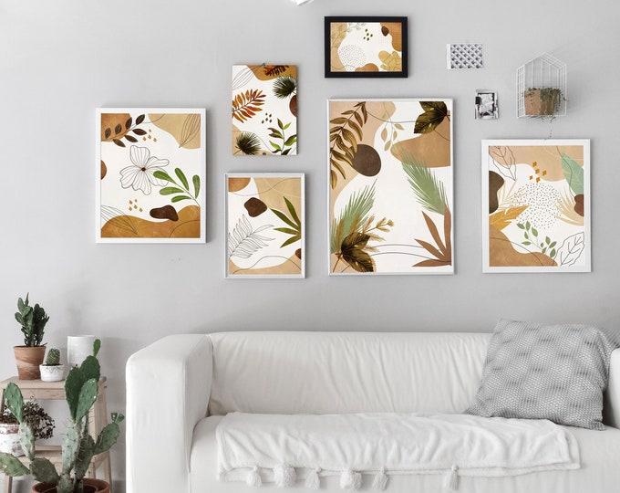 Floral Print Set of 6 Modern Home Decor Posters
