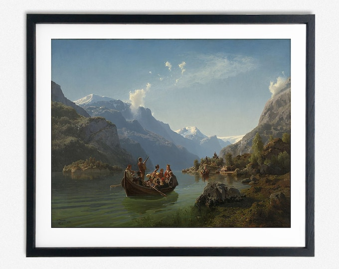 Hans Gude, Adolph Tidemand - Bridal Procession on the Hardangerfjord