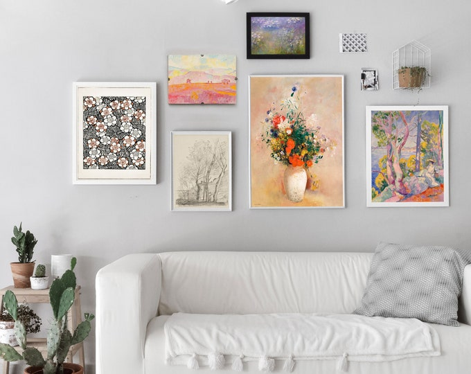 Modern Gallery Set of 6 Calming Floral Prints Ready to be Framed