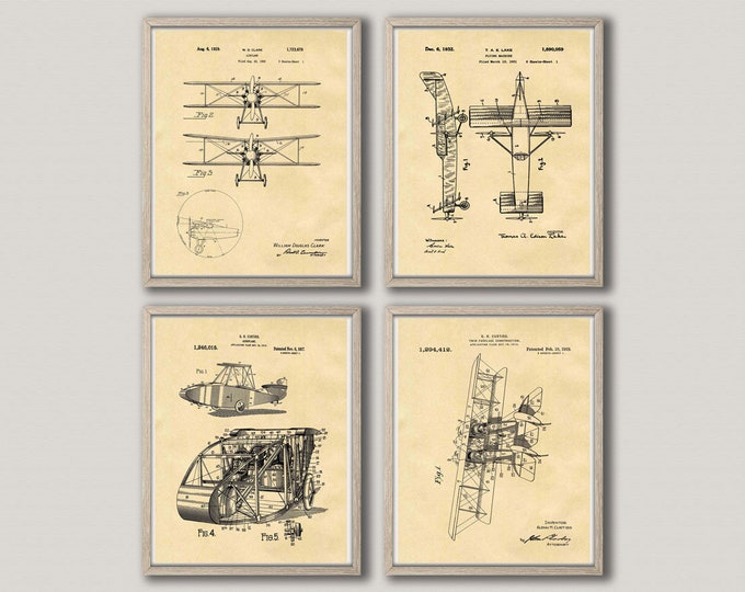 Airplane Wall Art Airplane Set of 4 Patent Posters Vintage Airplane Design Aviation Decor Aviation Gift for Aviation Decor WB312-313-316-317