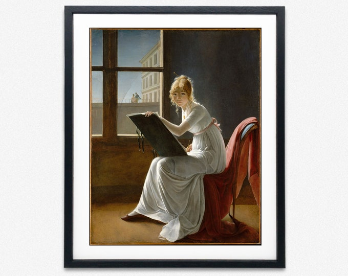 Modern Painting Young Woman Drawing by Marie-Denise Villers 1801 Feminist Wall Art Feminist Poster Feminist Art Feminist Decor Artist Gift