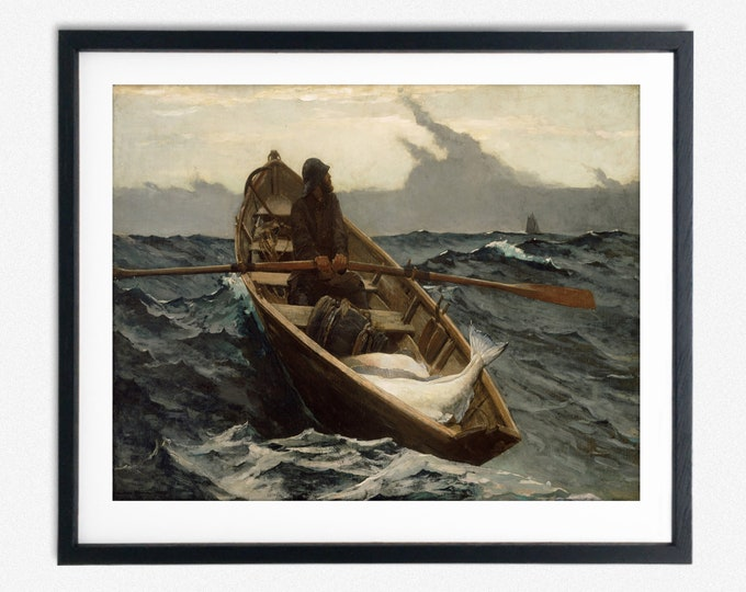 Winslow Homer The Fog Warning Painting Winslow Homer Painting Decor Painting Prints Boat in Storm Painting Great American Art Storm Art