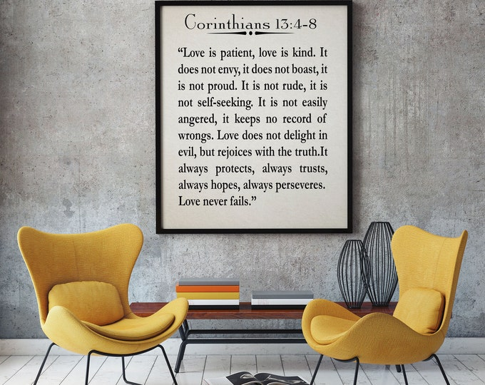 Wedding Reading Quote Wedding Quote Corinthians 13:4-8 Poster Bible Poster Bible Print St Paul Quote Wedding Quote Wedding Print Gift