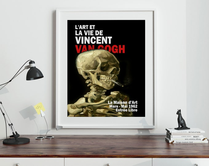 Skull of Skeleton With Burning Cigarette by Vincent Van Gogh Exhibition Poster