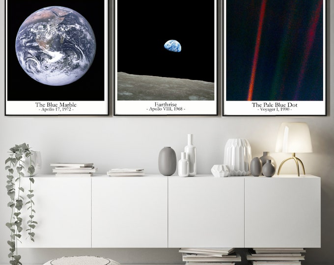 The Pale Blue Dot Earthrise The Blue Marble Photos Inspiring Space Wall Art