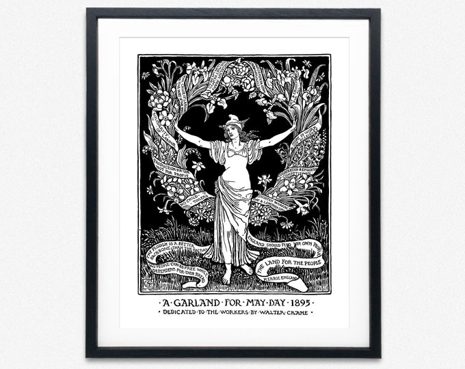 Walter Crane A garland for May Day 1895 Socialist Print