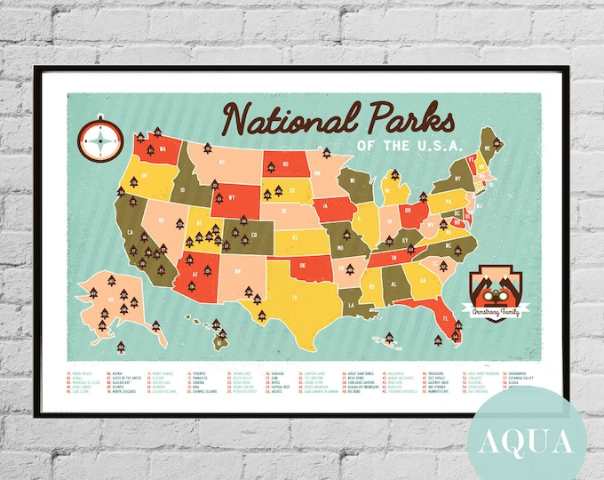 Personalized National Parks Map Custom National Parks Travel Map