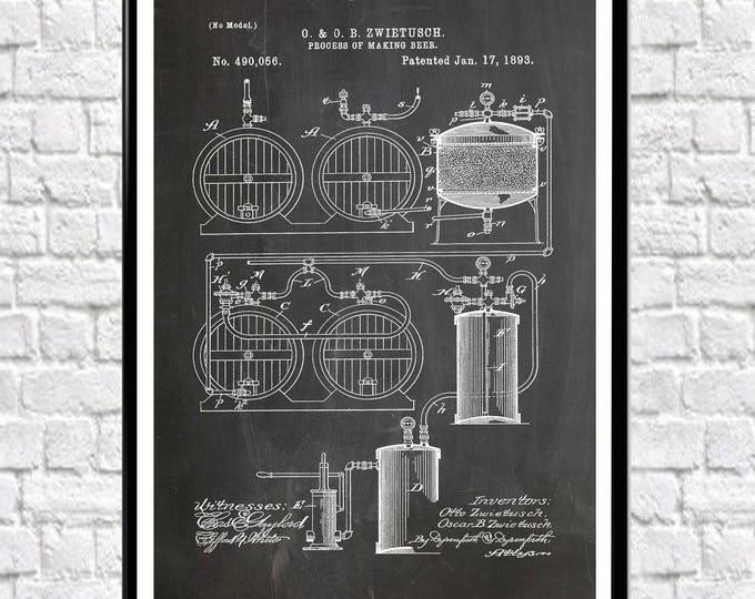 Beer Making Process Patent Beer Wall Art Poster Decor for Bar Craft Brewing Art Brewing Wall Art Brewing Posters WB130