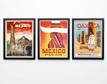 Set Of 3 Mexican Travel Posters Mexican Decor Mexican Wall Art Mexico  Poster Mexico Prints Mexican Prints Mexican Art Mexico Travel Decor