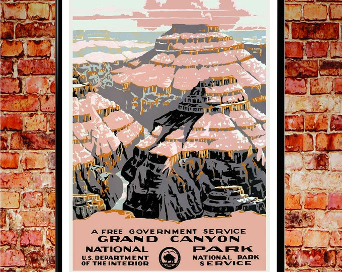 National Parks Poster Crand Canyon National Park Arizona 1937 USA Vintage Poster National Park Wall Art WPA Poster