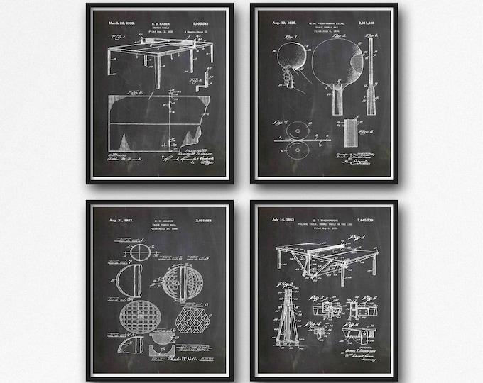 Table Tennis Posters Table Tennis Patent Prints WB529-WB532