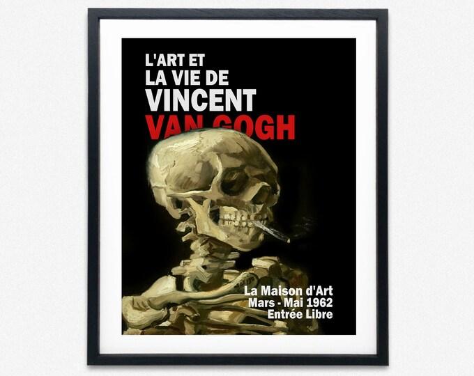 Vincent Van Gogh French Exhibition Poster Van Gogh Skull Poster