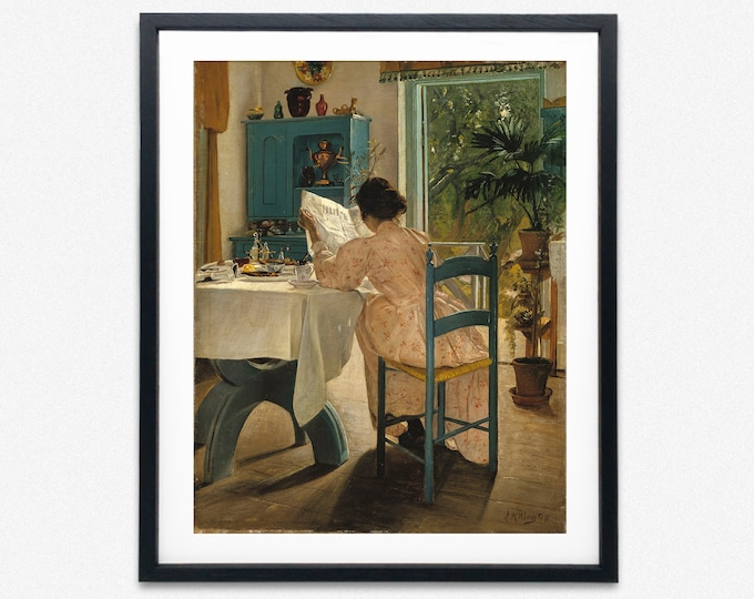 Woman at Breakfast Painting by L.A. Ring