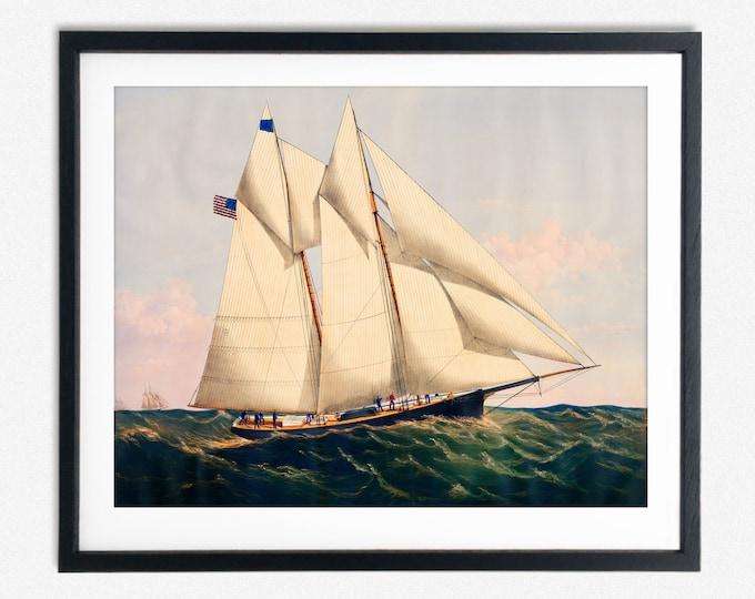 Yacht Henrietta Painting from Circa 1900 Vintage Sailing Painting Sailing Art Sailor Poster Sailing Poster Sailing Decor Nautical Painting