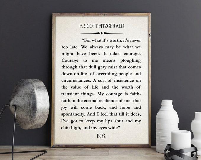 F Scott Fitzgerald Quote Great Gatsby Poster Great Gatsby Wall Art Literary Quote Literary Quote Inspiring Gift Inspiring Gift
