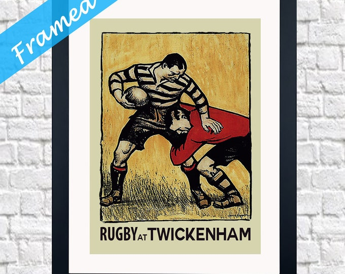 Vintage Rugby Framed Wall Art Rugby Decor England Rugby Print Twickenham Rugby