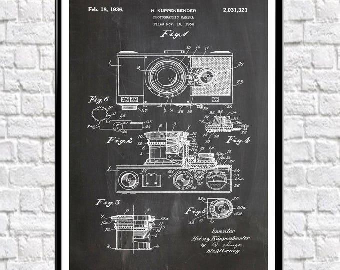 Camera Patent Poster 1934 Photographic Large Camera Print Camera Wall Art Photographer Gift Photographer Art Vintage Camera Gift (WB122)