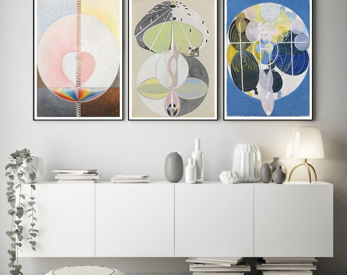 Abstract Paintings Set of 3 by Hilma Af Klint Art