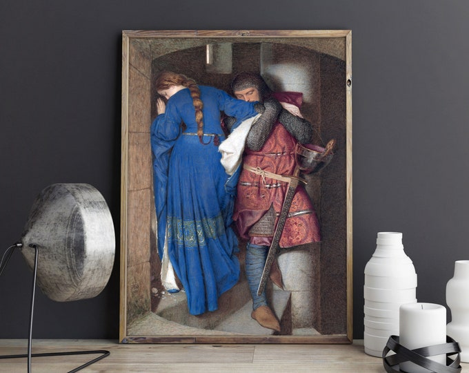Romantic Painting The Meeting on the Turret Stairs by Frederic William Burton 1864