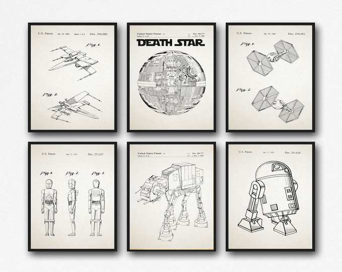Science Fiction Film Posters Space Ship Posters Robots Patent Prints Set of 6 WB121