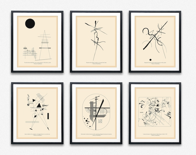 Wassily Kandinsky Line Diagrams Set of 6 Bauhaus Sketches