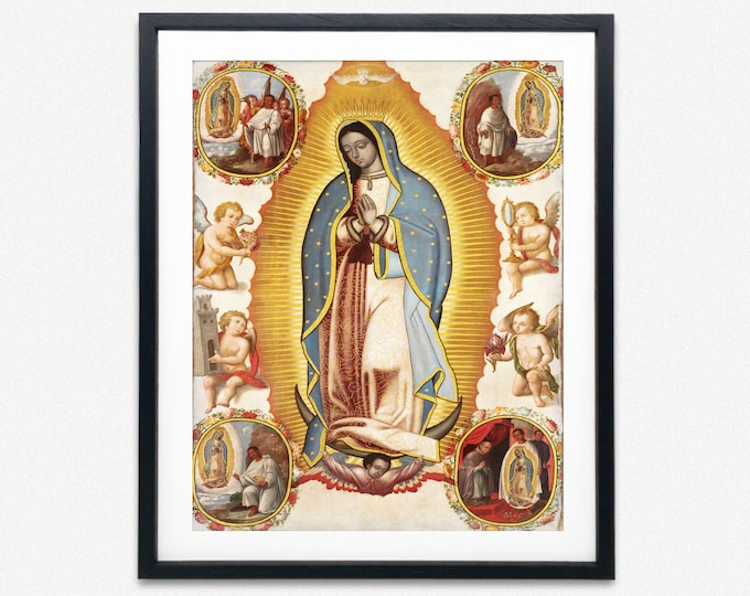 Our Lady of Guadalupe Poster Mary Mexican Poster Catholic Poster Virgen de Guadalupe Our Lady Gift for Newborn Gift Catholic art Religious