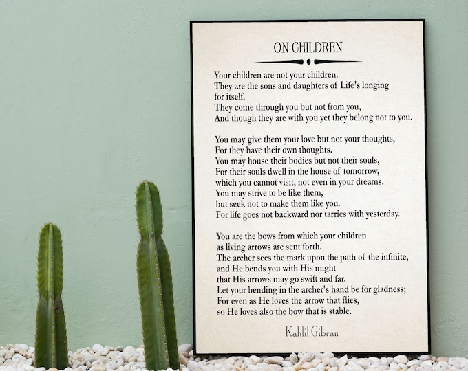 On Children Poem by Kahlil Gibran Quote The Prophet
