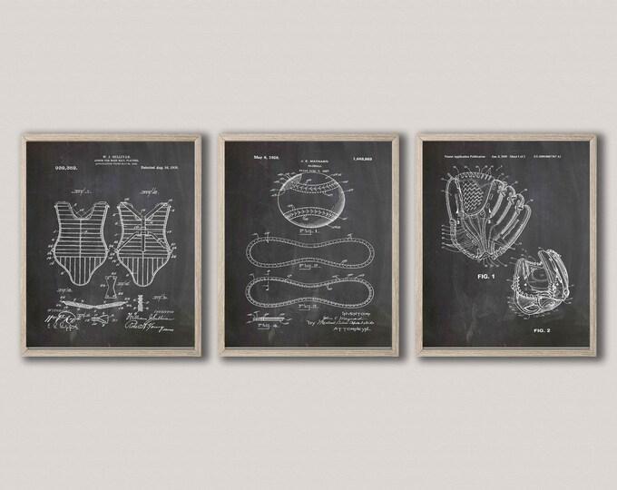 Baseball Umpire Gift Baseball Glove Patent Print Home Run Decor WB448-450