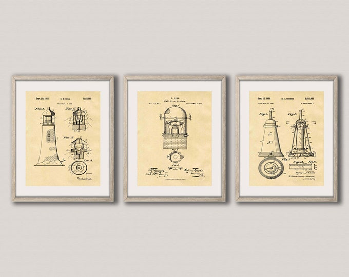 Lighthouse Decor Lighthouse Patent Print Set of 3 Nautical Themed Posters Nautical Wall Art Nautical Poster Art Nautical Print WB251-253