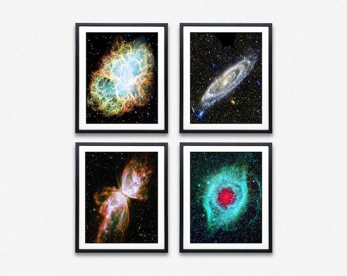 Nebula Posters Set of 4 Hubble Telescope Nebula Space Prints Andromeda Hubble Posters Galaxy Poster Nebula Gift Nebula Decor Nebula Art