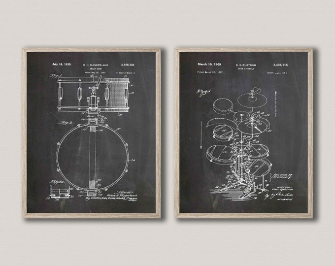 Bass Drum Poster Drum Kit Patent Art Drum Blueprint Decor Drummer Art WB459-461