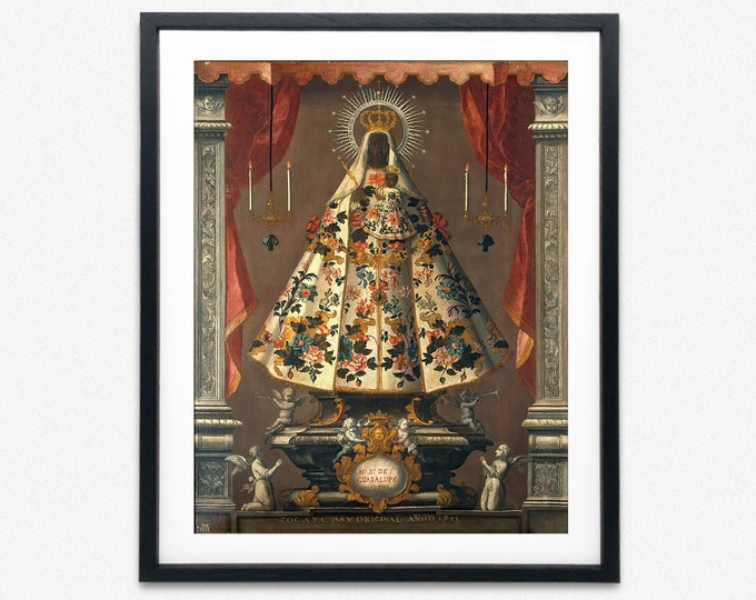 Black Madonna Print Our Virgin and Child of Guadalupe