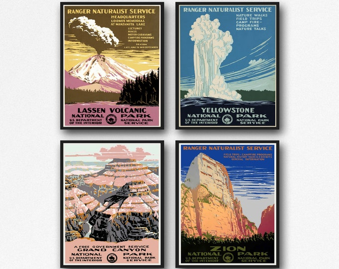Set of 4 National Park Posters from late 1930s Yellowstone Lassen Volcanic Grand Canyon and Zion National Parks WPA Posters 1 Free