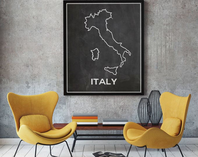 Italy Map of Italy Chalkboard Map Outline Map of Italy Italian Map Italian Home Decor Italian Poster Italian Wall Art Gift from Italy