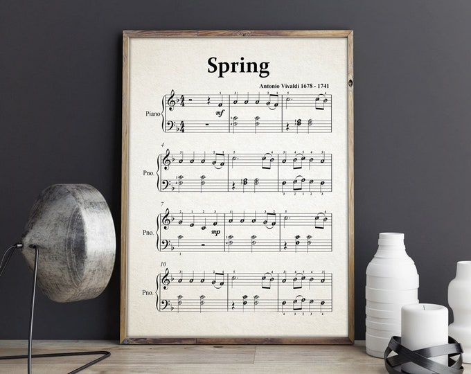 Spring by Vivaldi Sheet Music - Classical Music Sheet - Classical Music Posters - Music Prints