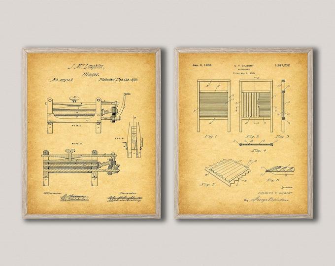 Wash Room Decor Laundry Blueprints Set of 2 Laundry Posters WB489-494