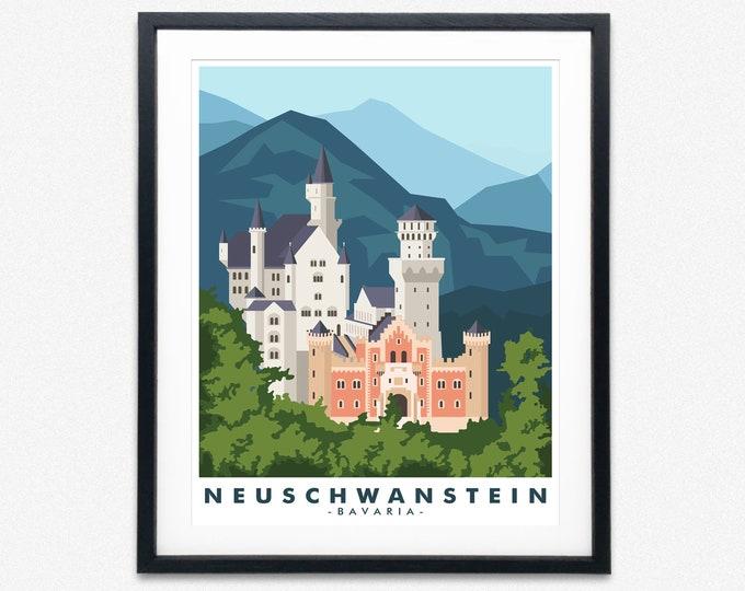 Neuschwanstein Castle Travel Poster Bavaria Travel Poster