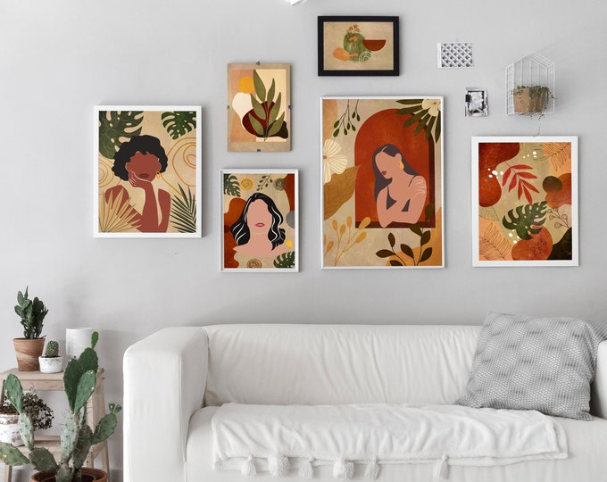 Modern Home Boho Posters Set of 6 Gallery Posters