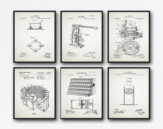Drug Store Patent Posters Set of 6 Antique Apothecary Inventions