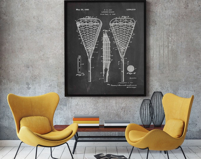 Lacrosse Stick Wall Art Lacrosse Gift For Lacrosse Player Lacrosse Patent Print Lacrosse Coach Lacrosse Decor Lacrosse Poster WB292