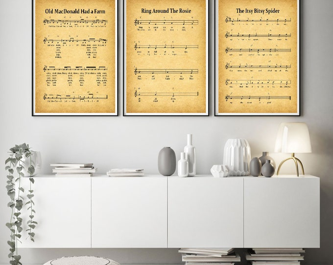 Nursery Prints Set of 3 Nursery Rhyme Posters WBNUR-1