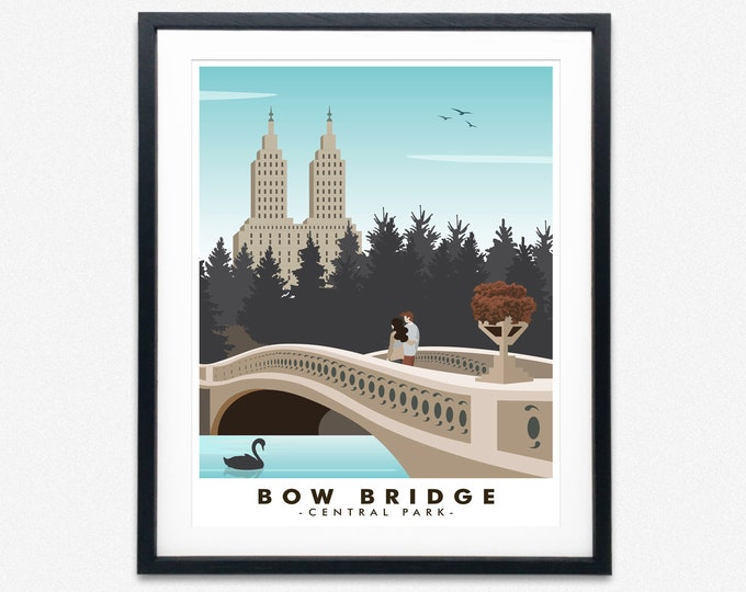Central Park Travel Poster New York City Poster Bow Bridge