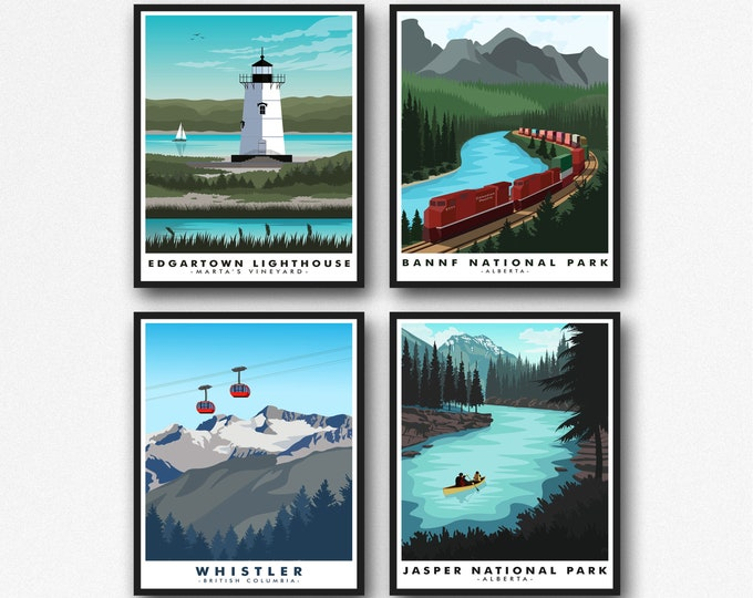 Canada Travel Posters Set of 4 Modern Canadian Prints