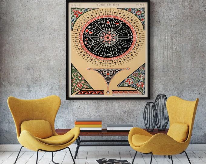 Turkish Graphic Design Poster Turkish Print Turkey Poster Ottoman Art Pattern Prints Arabic Pattern Arabic Poster Arabic Design Large Art
