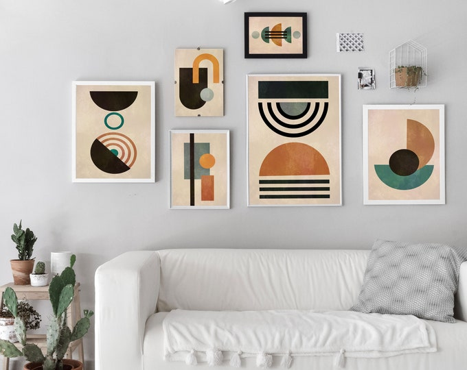 Abstract Geometric Posters Set of 6 Modern Abstract Prints